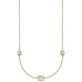 Elements Gold Mixed Cushion Mother Of Pearl Station Necklace - Gold/Cream