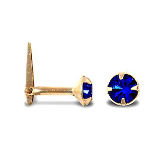 Jewelco London Ladies 9ct Yellow Gold Dark Blue Round Crystal Solitaire Claw Set Andralok Hinged Nose Stud 4mm