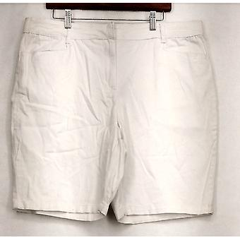 Basic Editios Bermuda Shorts Zipper Button Front Stretchy White