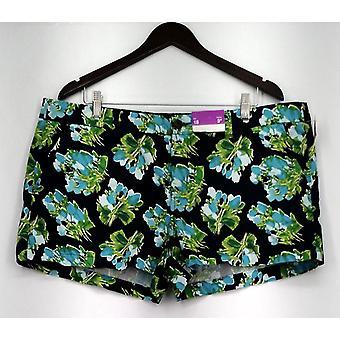 Merona Shorts Zip Front Casual Shorts Floral Print Green Womens