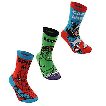 Marvel Kids 3 Pack Crew Socks Junior