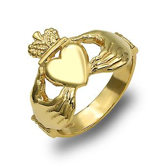 Jewelco London mænd ' s solid 9ct gul guld Claddagh (chladaigh) ring