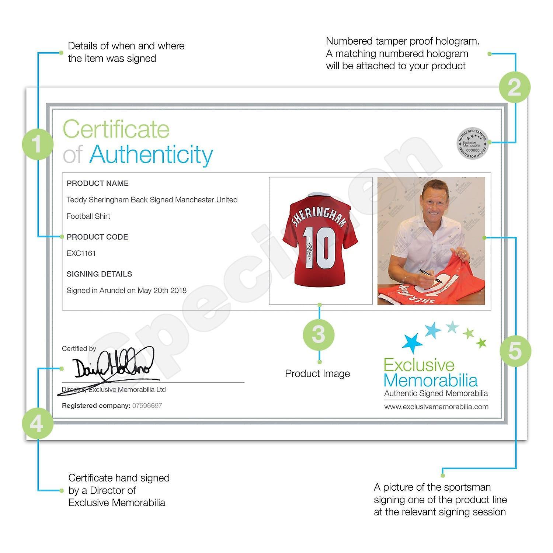 Teddy Sheringham Signed Manchester United Football Shirt 1999. Framed