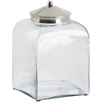 Hill Interiors Conical Chrome Lid Hammered Glass Jar