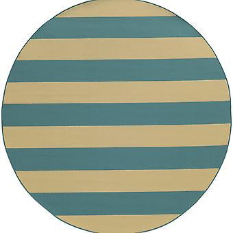Riviera 4768g blue/ivory indoor/outdoor rug round 7'10