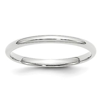 10k Ouro Branco 2mm Ltw Comfort Fit Band Ring Joias para Mulheres - Tamanho do anel: 4 a 14