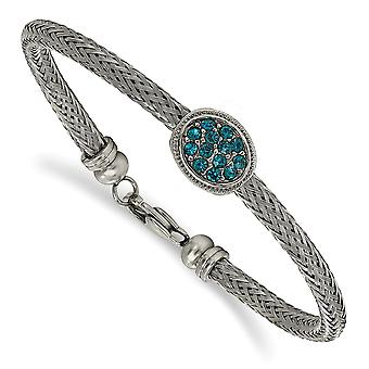Stainless Steel Polished and Textured Blue Crystal Bracelet 7.5 Inch Jewelry Gifts for Women