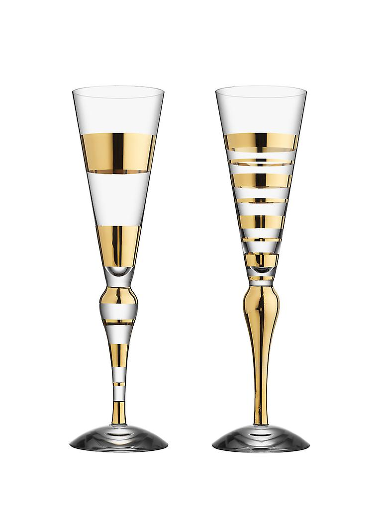 Orrefors-Clown Gold 2 pcs-Champagne glass-Anne Nilsson news from the glass prince