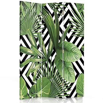 Room Divider, 3 Panels, Double-Sided, Rotatable 360, Canvas, Leafy Composition