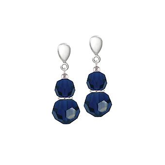 Eternal Collection Echo Indigo Blue Crystal Silver Tone Drop Screw Back Clip On Earrings
