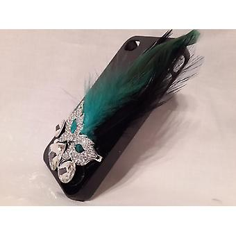 Apple Iphone 4 4S Case With Bird Feather (Blue Green)