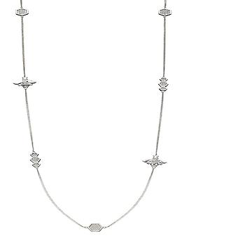 Elements Silver Detailed Zirconia Pave Bee  Station Necklace N4368C
