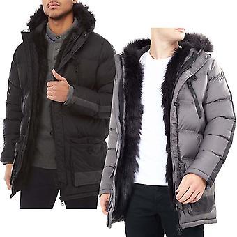 Brave Soul Mens Campbell Long Sleeve Faux Fur Hood Padded Parka Jacket Coat