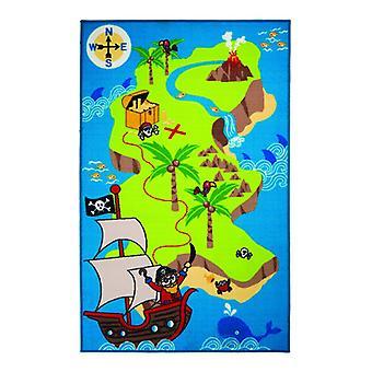 Kiddy Play Pirate Map Rug - Retangular - Multicolor