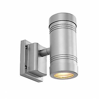 2 Light Outdoor Up Down Wall Light Aluminium Ip55 z przezroczystym szkłem