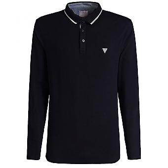 GUESS Clive Navy Long Sleeve Polo Shirt