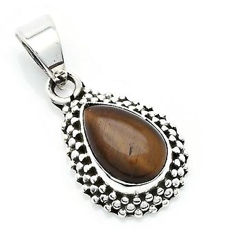 Amuleto de caneta de corrente prata 925 Sterling Silver Tiger Eye Brown Stone (Não: MAH 134-18)