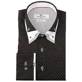 Клаудио Lugli черный полосатый тройной воротник мужской рубашки