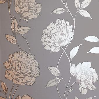 Pretty Metallic Floral Tapety Charcoal Arthouse 688001
