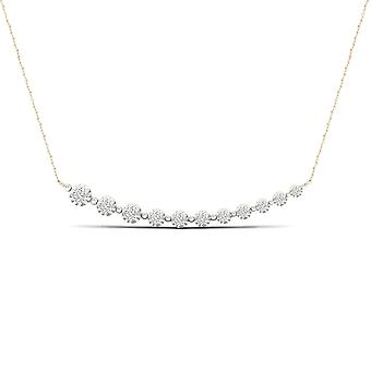 Igi certified 10k yellow gold 0.25ct tdw natural diamond journey necklace