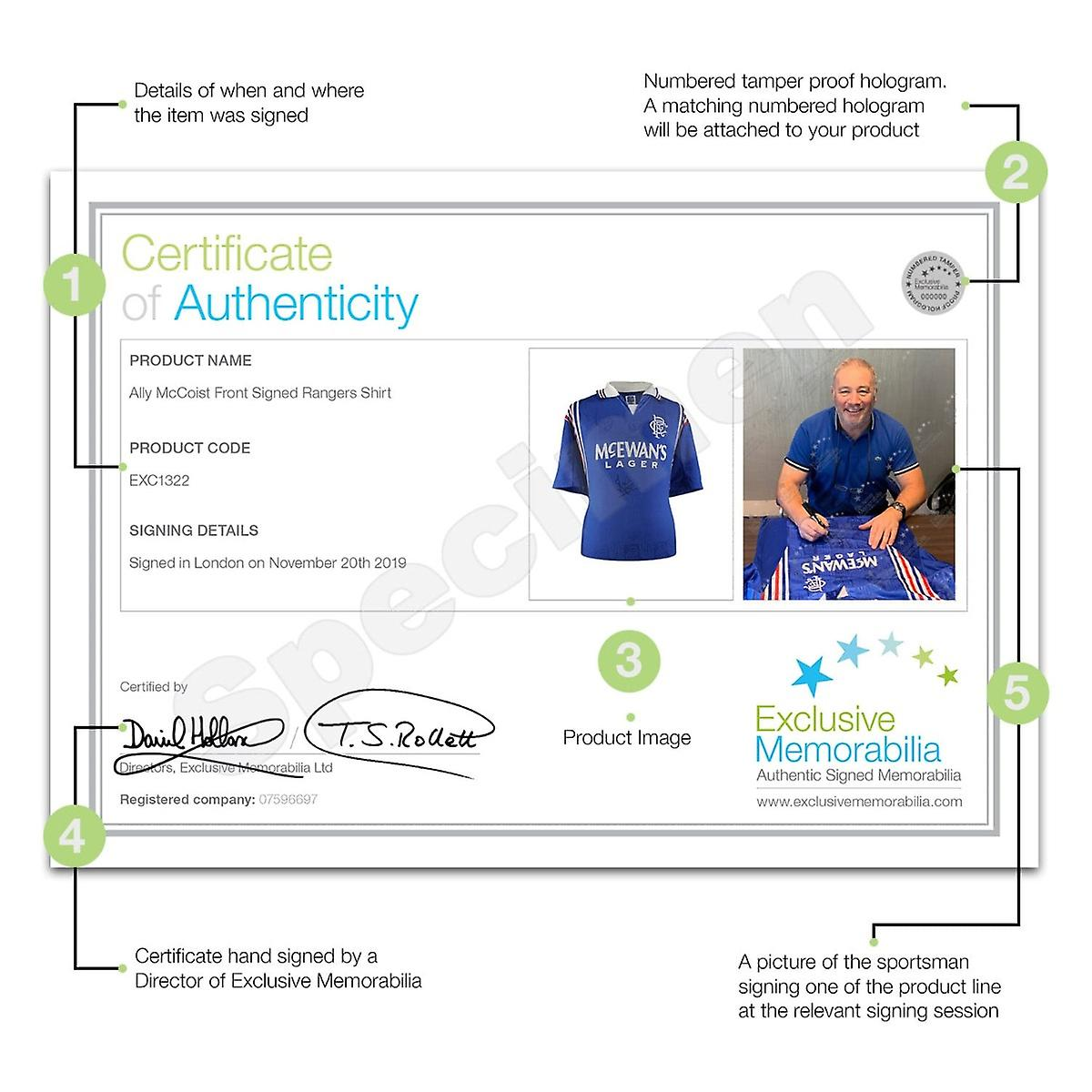 Ally McCoist Front Signed Rangers Shirt In Gift Box