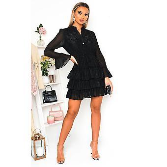 IKRUSH dame Fifi Shimmer frill skjorte kjole
