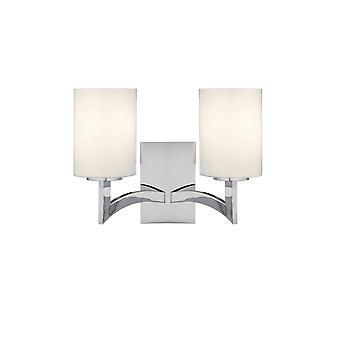 Searchlight Gina Dual Wall Light In Chrome With White Glass Cylinder Shades