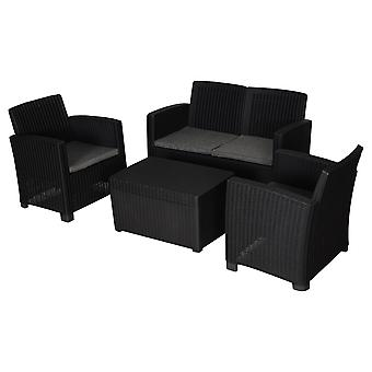 4 Pcs Outdoor Dining Set Rattan Look w/ 2 Chairs Sofa Table Padded Seats Garden Furniture Patio Balcony Black