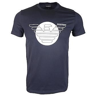 Emporio Armani Cotton Round Neck Printed Eagle Logo Navy T-shirt