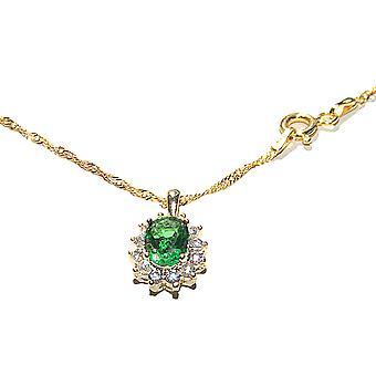 اه! المجوهرات الذهب مطلي بالكهرباء، أزياء ساحر يجب أن يكون قلادة. يضم مذهلة الزمرد البيضاوي محاكاة الماس.