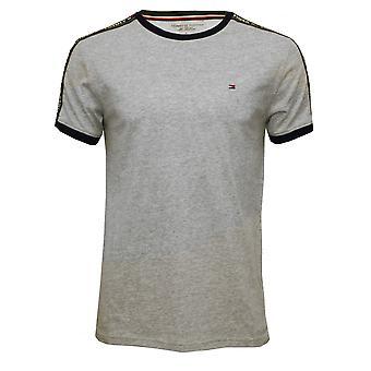 Tommy Hilfiger logotyp Långärmad Crew-Neck ekologisk bomull T-Shirt, Grå Melange
