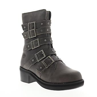 Harley-Davidson Marston  Womens Gray Leather Boots Zipper Motorcycle