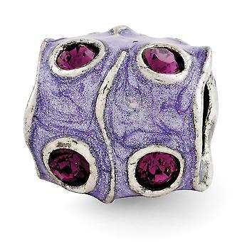 925 Sterling Silver Reflections Purple Crystal y Enamel Bead Charm Colgante Collar regalos de joyería para mujeres