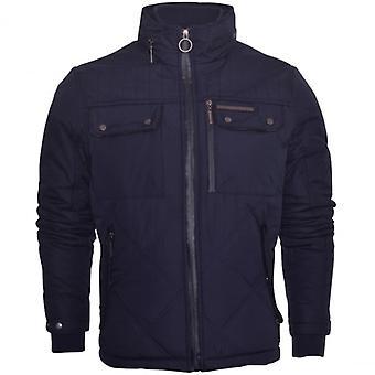 Ringspun Mens Ringspun High Quality Heavyweight Diamond Quilted Padded Jacket Coat Foldaway Hood