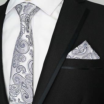 Paisley preto e cinza floral misture lenço de bolso & amarrar o conjunto