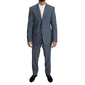 Dolce & Gabbana Light Blue Wool Stretch Gold Slim Fit Suit