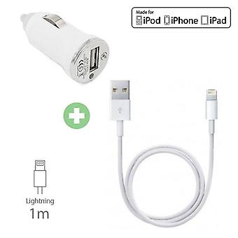 Stuff Certified® 2 in 1 Charger Charging Cable / Data Cable & Car Charger / iPhone Carcharger 1 Meter