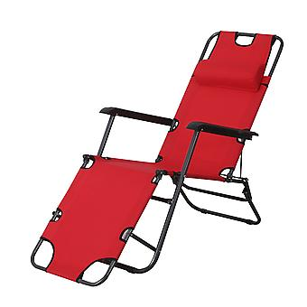 Outsunny Folding Sun Lounger Chair w/ Adjustable Back Steel Frame Cloth Seat Pillow Comfortable Outdoor Recliner Garden Patio Balcony Beach Red