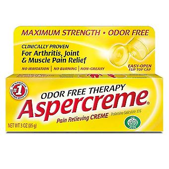 Aspercreme pain relieving creme, odor free, maximum strength, 3 oz