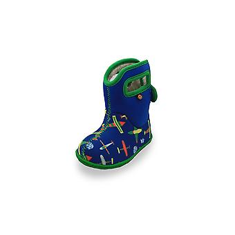 Baby bogs blue multi-coloured plane boots