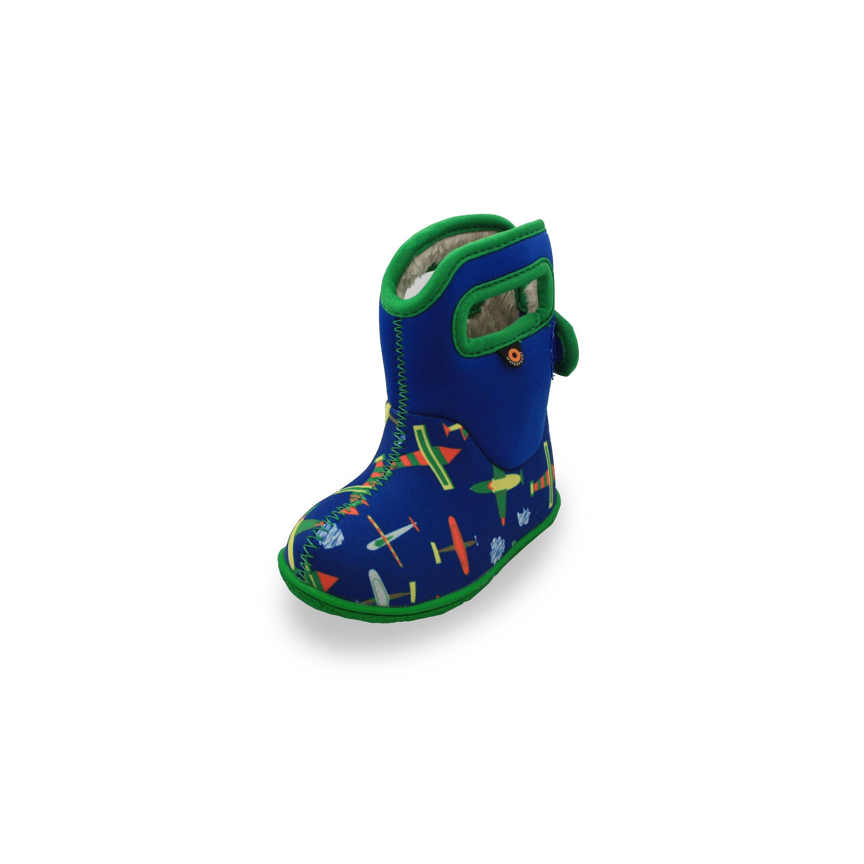 Baby bogs blue multi coloured plane boots