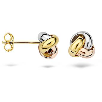 Blush 71579WYR earrings - Pink and white yellow gold 6/7 mm