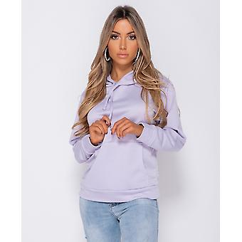 Oversized Draw String Hooded SweaT-Shirt - Lila