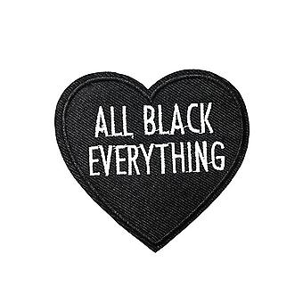 Attitude Clothing All Black Everything Heart Iron-On Patch