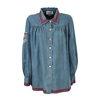 Gucci 605547xda3j4206 Damen's blaues Baumwollhemd