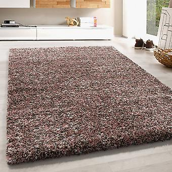 High Flor Shaggy Rug Long Floral Carpet Colorful Taupe Beige Cream Rose Melted