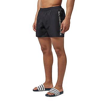EA7 Emporio Armani Mens Side Logo Swim Shorts - Black-XL