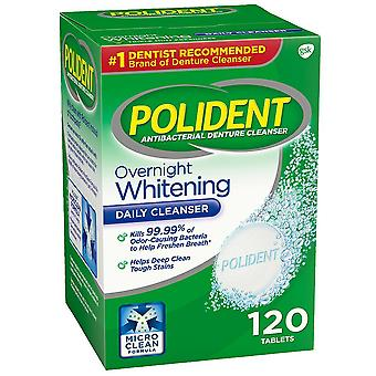 Polident overnight whitening denture cleanser, tablets, 120 ea