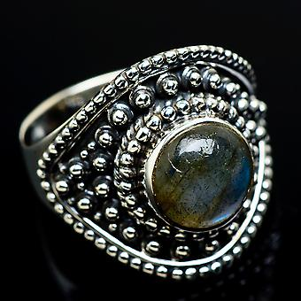Labradorite Ring Size 9 (925 Sterling Silver)  - Handmade Boho Vintage Jewelry RING7710