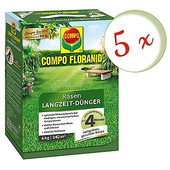 Sparset: 5 x COMPO Floranid® Long-term lawn fertilizer, 6 kg